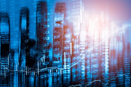 ganancias: indicador del mercado de valores y los datos financieros vista desde LED. Doble gráfico financiero de la exposición y el indicador de acción incluyendo la educación de valores o el análisis de marketing. Resumen de fondo indicador financiero.