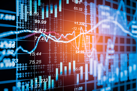 Stock market indicator and financial data view from LED. Double explosure  financial graph and stock indicator including stock education or marketing analysis. Abstract financial indicator background. Stock Photo