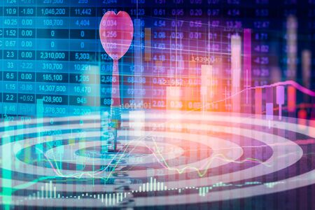Target arrow on dart board and stock market indicator graph. Financial graph and stock market target. Target of stock market indicator financial analysis. Target of financial indicator victory concept