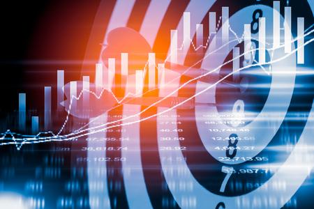 Zielpfeil auf Dartscheibe und Börse Indikator Diagramm. Finanzdiagramm und Börsenziel. Ziel der Finanzanalyse des Börsenindikators. Ziel des finanziellen Indikators Sieg Konzept Standard-Bild - 71998543
