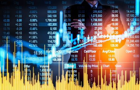 Business man on digital stock market financial background. Digital business and stock market financial on LED concept. Double exprosure of business man and digital stock market financial.