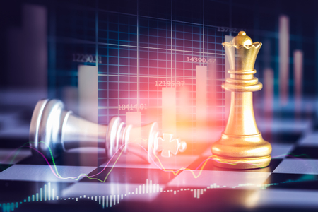 Business game on digital stock market financial and chess background. Digital business and stock market financial on LED. Double exposure chess business strategy and digital stock market financial. Standard-Bild