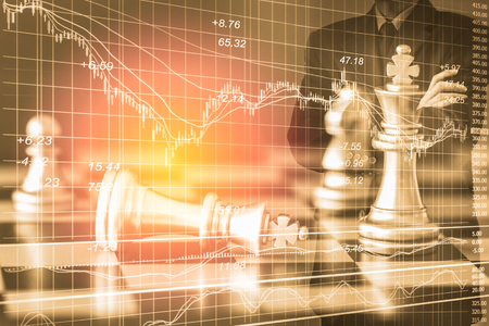 Business man on digital stock market financial and chess background. Digital business and stock market financial on LED. Double exposure chess business strategy and digital stock market financial.