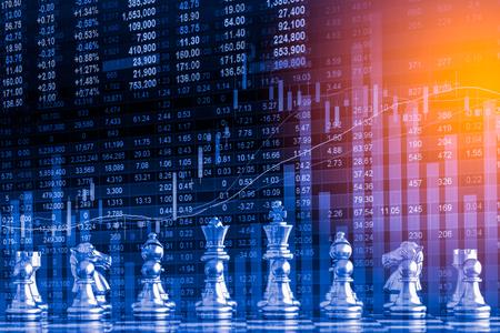 ビジネス ゲーム デジタル株式市場金融とチェスの背景。デジタル ビジネスや led 金融株式市場。二重露出チェス ビジネス戦略とデジタルの株式市場が金融。