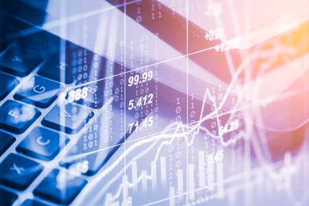 Double exposure business accessory on financial statistic data. Stock market financial data on LED. Economy return earning. Stock market overview in market economy. Economy statistic background. Banque d'images
