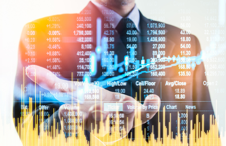 Double exposure business man on stock financial exchange. Stock market financial  indices on LED. Economy return earning. Stock market financial overview in market economy. Economy analysis background