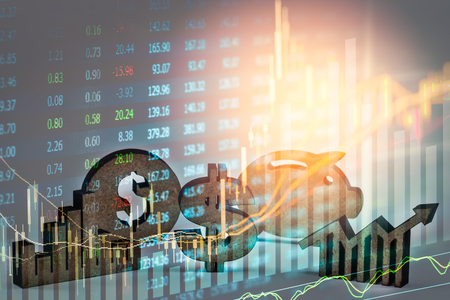 Double exposure business props on stock financial growth. Economy return earning concept. Stock market financial on LED. Stock market financial overview in market economy. Economy analysis background.