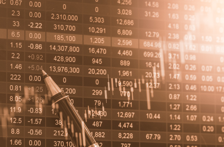 stockmarket: Index graph of stock market financial indicator analysis on LED. Abstract stock market data trade concept. Stock market financial data trade graph background. Global financial graph analysis concept. Stock Photo