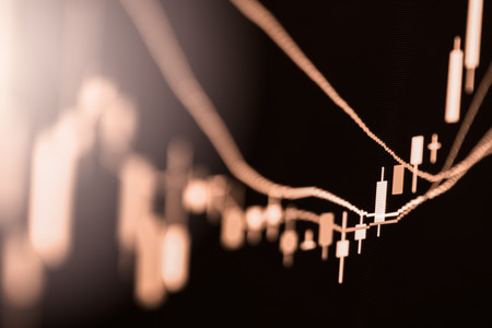 Index graph of stock market financial indicator analysis on LED. Abstract stock market data trade concept. Stock market financial data trade graph background. Global financial graph analysis concept. Stock Photo