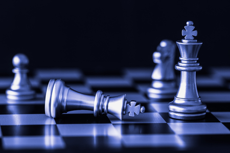 Strategy chess battle Intelligence challenge game on chessboard. Success the strategy concept. Chess business leader and success idea. Chess strategy game business competition success play.