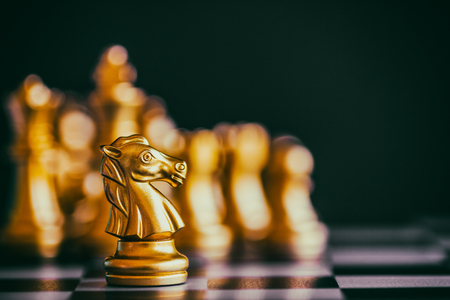 Strategy chess battle Intelligence challenge game on chessboard. Success the strategy concept. Chess business leader and success idea. Chess strategy game business competition success play. Stok Fotoğraf - 90251365