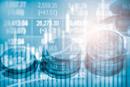 Index graph of stock market financial indicator analysis on LED. Stock Photo