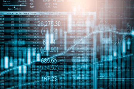 Index graph of stock market financial indicator analysis on LED. Abstract stock market data trade concept. Stock market financial data trade graph background. Global financial graph analysis concept. Foto de archivo