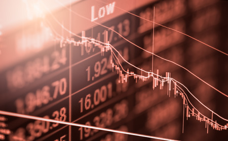 Index graph of stock market financial indicator analysis on LED. Abstract stock market data trade concept. Stock market financial data trade graph background. Global financial graph analysis concept. Фото со стока