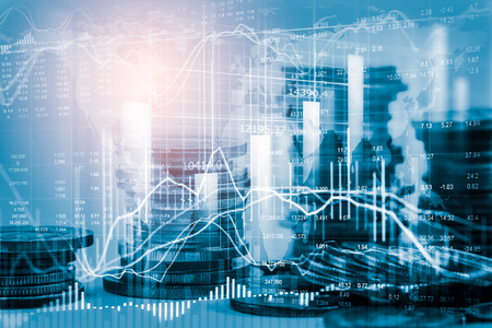 Stock market or forex trading graph and candlestick chart suitable for financial investment concept. Economy trends background for business idea and all art work design. Abstract finance background. Stockfoto