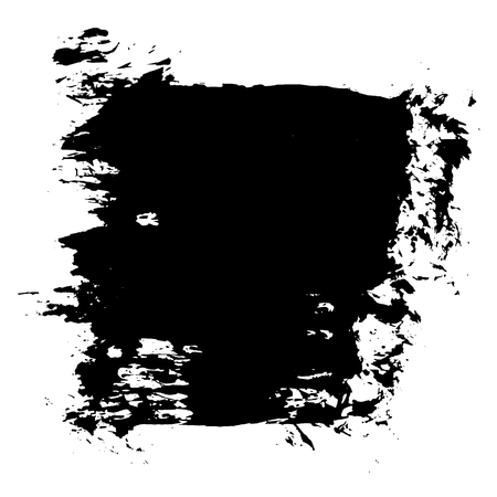 Grunge hand drawn paint brush stripe. Vector black ink brush stroke. Paint background high detail. Dirty design element, box, frame for text. Curved or modern texture shape. Dry border in illustration