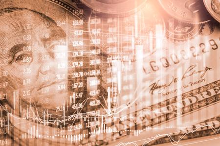 Börsen- oder Devisenhandelsdiagramm und Candlestick-Diagramm, geeignet für Finanzinvestitionskonzept. Wirtschaftstrends Hintergrund für Geschäftsidee und alle Kunstwerke Design. Abstrakter Finanzhintergrund.
