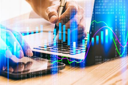 금융 투자 개념에 적합한 주식 시장 또는 외환 거래 그래프 및 촛대 차트. 사업 아이디어와 모든 예술 작품 디자인을 위한 경제 동향 배경. 추상 금융 배경입니다.