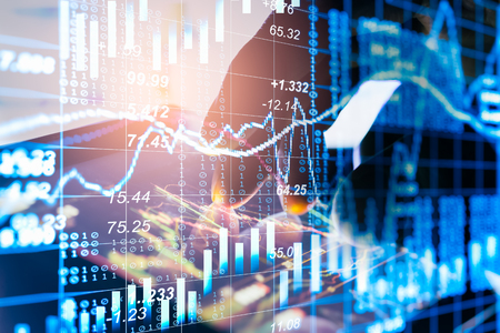 Stock market or forex trading graph and candlestick chart suitable for financial investment concept. Economy trends background for business idea and all art work design. Abstract finance background. Reklamní fotografie