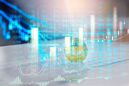 Moderne manier van uitwisselen. Bitcoin is een gemakkelijke betaling op de wereldeconomiemarkt. Virtuele digitale valuta en financieel investeringsconcept. Abstracte cryptocurrency met gouden bitcoin achtergrond.