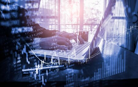 Stock market or forex trading graph and candlestick chart suitable for financial investment concept. Economy trends background for business idea and all art work design. Abstract finance background. Standard-Bild