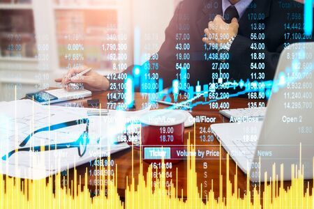 Stock market or forex trading graph and candlestick chart suitable for financial investment concept. Economy trends background for business idea and all art work design. Abstract finance background. Standard-Bild - 134461283