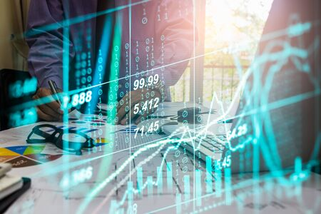 Stock market or forex trading graph and candlestick chart suitable for financial investment concept. Economy trends background for business idea and all art work design. Abstract finance background. Standard-Bild - 134461311
