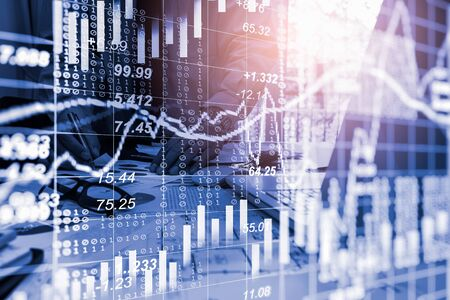 Stock market or forex trading graph and candlestick chart suitable for financial investment concept. Economy trends background for business idea and all art work design. Abstract finance background. Standard-Bild - 134716822