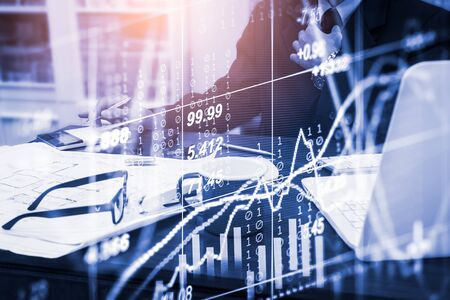 Stock market or forex trading graph and candlestick chart suitable for financial investment concept. Economy trends background for business idea and all art work design. Abstract finance background. Standard-Bild - 134716823
