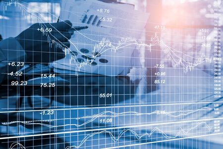 Stock market or forex trading graph and candlestick chart suitable for financial investment concept. Economy trends background for business idea and all art work design. Abstract finance background. Imagens