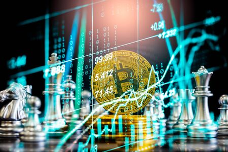 Modern way of exchange. Bitcoin is convenient payment in economy market. Virtual digital currency and financial investment trade concept. Abstract cryptocurrency with gold bitcoin and chess background Фото со стока
