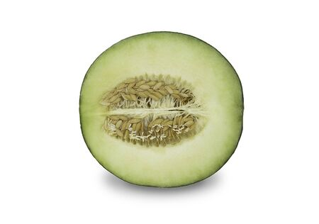 A half organic japanese honeydew melon on white isolated background. Ripe green cantaloup melon have sweet taste and juicy for refreshing in summer. Fresh fruit concept.