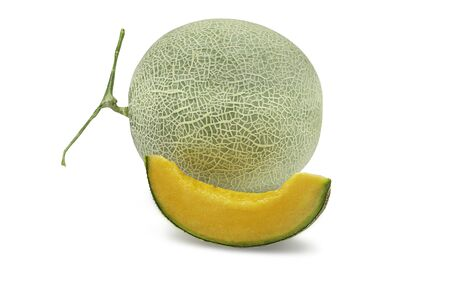 Organic japanese cantaloup melon and sliced on white isolated background. Ripe orange cantaloup melon have sweet taste and juicy for refreshing in summer. Fresh fruit concept.