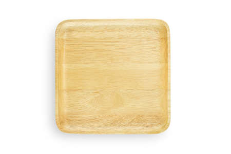 Handmade empty wooden square plate or tray on white isolated background in top view flat lay with studio shot for natural design. Wood plate for salad or fruit. Kitchenware concept.