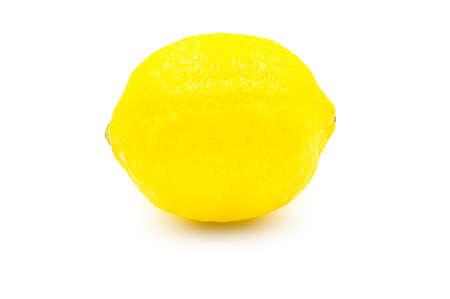 Whole organic lemon on white isolated background   . Fresh lemon have high vitamin C and delicious sour taste for lemonade or cooking. Citrus or citron fruit concept. Banco de Imagens
