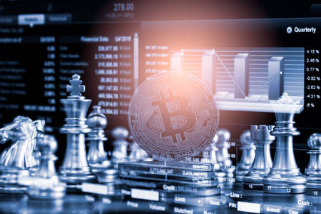 Modern way of exchange. Bitcoin is convenient payment in economy market. Virtual digital currency and financial investment trade concept. Abstract cryptocurrency with gold bitcoin and chess background Imagens