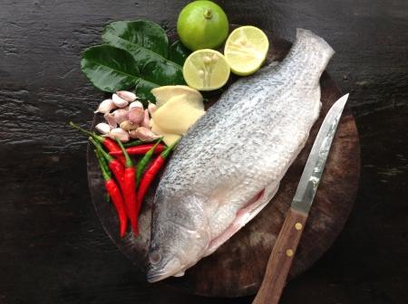 barramundi: Ingredient of Barramundi steam with lemon Thai food