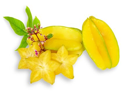 star fruit or carambola or star apple sliced with green leaf isolated on white background