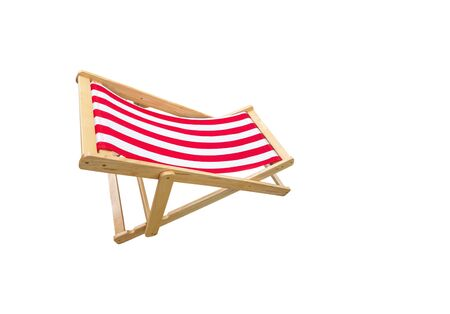 wooden deck chair isolated on white background
