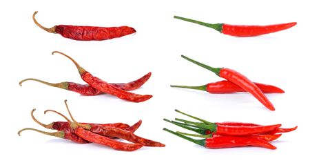 red hot chili pepper and dry red pepper isolated on a white background