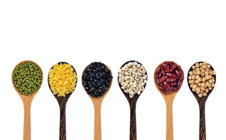 Beans on white background Imagens
