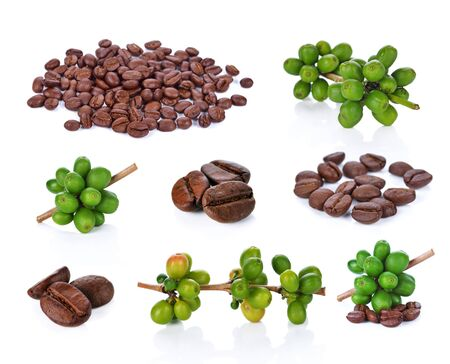 Green coffee beans and Coffee bean  isolated on white Banco de Imagens