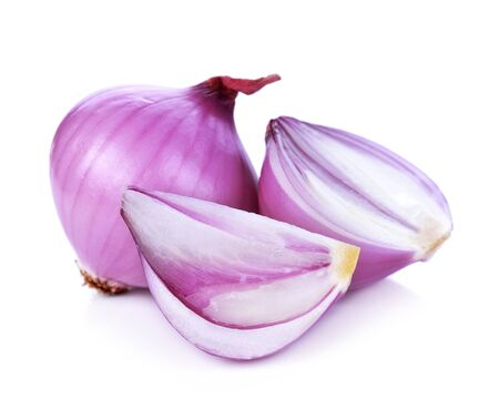 Red onion and isolated on white background