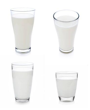 Vaso de leche aislado en blanco con trazado de recorte incluido