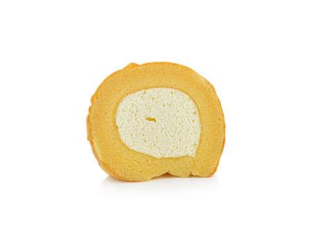 Swiss roll cake on white