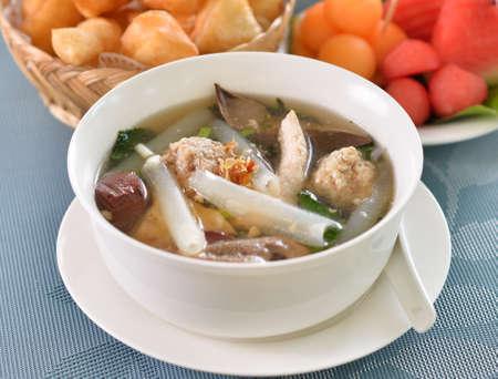 Pork soup thailand on top view Standard-Bild - 163359328