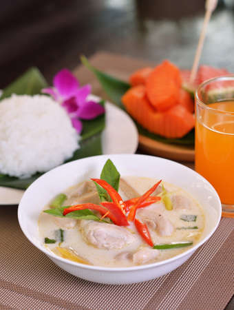 Chicken Coconut soup with other delicious dishes Standard-Bild - 163359339
