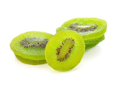 Dried kiwi fruit isolated on white Standard-Bild