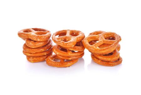Salted pretzels on white background Standard-Bild - 160696122