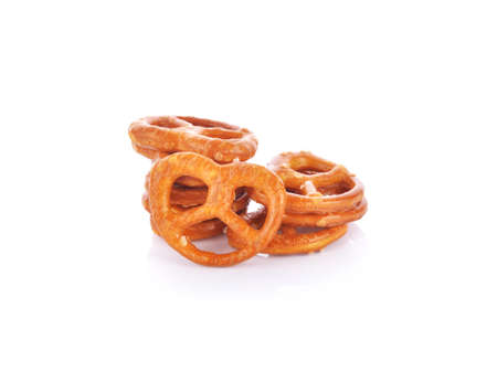 Salted pretzels on white background Standard-Bild - 160695900